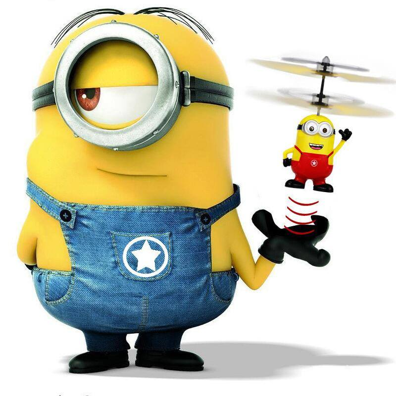 red flying drone minion toy